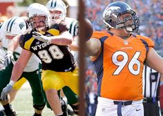 Mitch Unrein Then: Defensive End #98 for the Wyoming Cowboys Now: Defensive Tackle #96 for the Denver Broncos