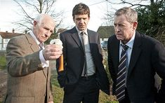 Barry Jackson (left) as George Bullard in Midsomer Murders, with DS Ben Jones (Jason Hughes) and DCI Tom Barnaby (John Nettles)
