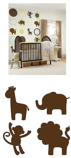 Jungle Friends Silhouettes Epresso Peel and Stick - Wall Sticker Outlet
