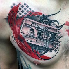 If you like Trash Polka Tattoo style HERE you can Learn to Create your own Tattoo ➋☢➊➒ This And Other Tattoo Techniques Trash Polka Tattoos Modern Tattoo Designs, Music Tattoo Designs, Music Tattoos, Tattoo Designs Men, Body Art Tattoos, Sleeve Tattoos, Tattoo Musica, Dj Tattoo, Chest Tattoo