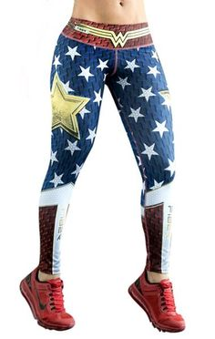 These Wonder Woman Super Hero Leggings from Fiber are great for working out…