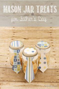 Mason Jar Treats for Father's Day - Use upcycled mason jars for this quick and easy Father's Day craft.