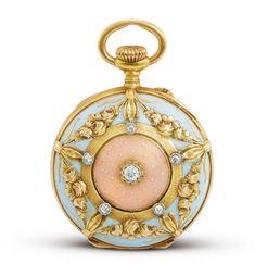 Patek Philippe A YELLOW GOLD, ENAMEL AND DIAMOND-SET OPEN-FACED KEYLESS WATCH MVT 137280 CASE 242828 MADE IN 1907 Estimate 32,000 — 50,000 HKD     sotheby's hk0789lot9rs37en
