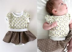 circle skirts added to onsies! great idea and adorable