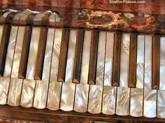 Mother of Pearl Piano Keys - Antique Square Grand Pianos Rebuilt and Restored - 1850