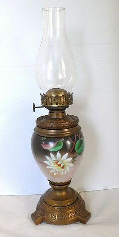 Circa 1890 Hand Painted Oil Lamp with Improved Climax Burner