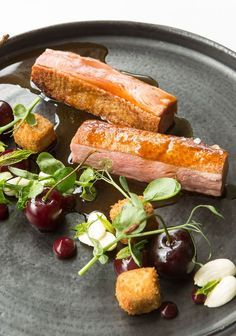 Roast duck breast and crispy leg croquettes with cherries and almonds by Paul Welburn Cherry Recipes, Duck Recipes, Food Design, Roasted Duck Breast, Food Porn, Great British Chefs, Roast Duck, Food Presentation, Gastronomia