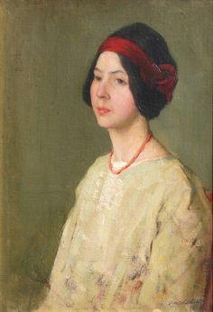 Charles Webster Hawthorne (American 1872–1930) [Genre, Portrait] The Coral Necklace.