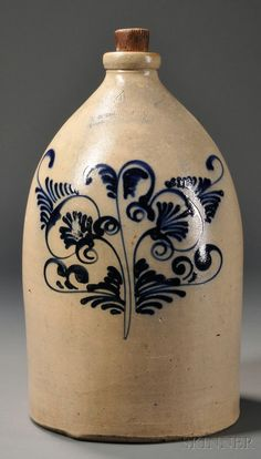 "Cobalt-decorated Stoneware Jug, ""F.B. NORTON & CO. WORCESTER MASS.,"" third quarter 19th century, four-gallon straight-sided jug with brushed stylized flower decoration, impressed maker's mark to shoulder, (base chips), ht. 17 3/4 in."