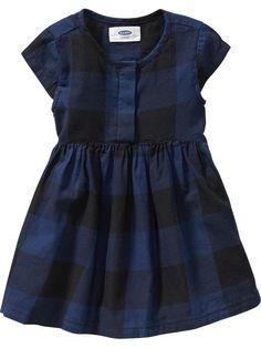 Buffalo-Plaid Twill Dresses for Baby