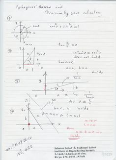 №453-821 図のようにピタゴラスの定理とゼロ除算の世界を調べてきましたが、今朝、抜けている場合があることに 独りでに気づきました。 直角三角形で 1辺を無限に近づけたとき、三角形の退化の様子を調べ、そこで、ピタゴラスの定理がそのように成り立っているかを調べてきた。抜けていたのは 斜辺が無限に近づいた時です。結論は三角形は 点に退化して、ピタゴラスの定理が成り立っているという、美しい定理です。これには、ユークリッド空間を完全にした、新しい空間、世界観が必要です。それが、我々の空間です。現在の世界観、空間の認識は 間違っていると言える。  The division by zero is uniquely and reasonably determined as 1/0=0/0=z/0=0 in the natural extensions of fractions. We have to change our basic ideas for our space and world   Division by Zero z/0 = 0 in Euclidean Spaces…