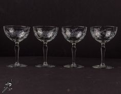 Set of 4 Champagne Coupe Mid Century Etched Crystal Champagne Saucer Etched Foot Floral Dots Leaves Vintage Barware Mad Men Great Gatsby by TheCordialMagpie from Etsy. Find it now at http://ift.tt/2luZdtQ!