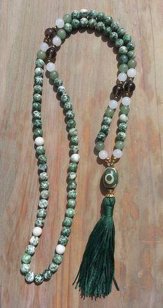 Jaspe spot vert quartz fumé Dzi perle Mala collier pompon Long
