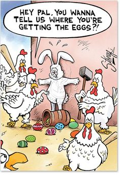 Awesome easter cards all ship FREE and fast, including this hilarious 'Getting the Eggs' printed greeting card by Tony Lopes, and part of the Cartoons line. Easter Bunny Jokes, Easter Funny, Happy Easter, Egg Card, Animal Humour, Chicken Humor, Easter Greeting Cards, Funny Greetings, Funny Cartoons