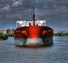 """""""Houston Ship Channel"""" by John Hark, Houston // MT Kenwood Park outbound on the Houston Ship Channel // Imagekind.com -- Buy stunning fine art prints, framed prints and canvas prints directly from independent working artists and photographers."""