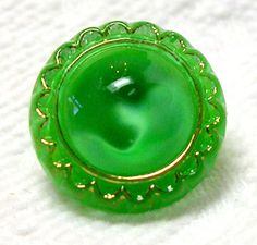 1950'S-60'S KELLEY GREEN GLASS MOONGLOW BUTTON w/GOLDEN LUSTER TRIM