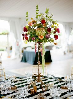 Wonderful Fall Wedding - Black & White Decor With Pops of Color