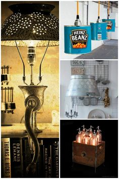 The kitchen is often the center of recycling so why not take the opportunity to build a nice lamp made with recycled kitchen tools, cans, bottles... #Kitchen #Lamp #Recycle