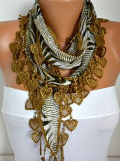 - Heart Scarf  Olive Zebra  Scarf  Spring Scarf -  Cotton  Scarf - Shawl -  Cowl  best selling item scarf