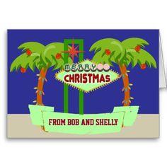 Customizable Las Vegas Desert Holiday Christmas Cards.