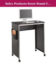 Safco Products Scoot Stand-Up Workstation, Black. Find a style all your own with the unique design of the Scoot Stand-Up Workstation. The intriguing hole-pattern look provides a little personality to your workspace with a style that fits into any office ambiance. The workstation features a side pocket that is great for holding active files, projects or even your tablet when it's not in use. If you love the look, but would rather take a seat, The Scoot Workstation also comes in a sit-down...