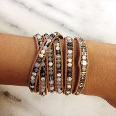 Grey Mix Single Wrap Bracelet on Beige Leather - Chan Luu