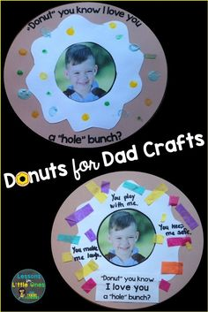 Cute, easy to make Donuts for Dad Father's Day craft ideas Kids Fathers Day Crafts, Dad Crafts, Fathers Day Art, Daycare Crafts, Toddler Crafts, Gifts For Father, Preschool Crafts, Crafts For Kids, Toddler Fathers Day Gifts