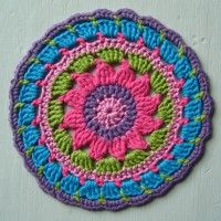 Crochet Mandala Wheel made by  Andrea, Australia, for  yarndale.co.uk