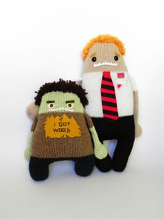 Zombie Ed & Shaun knit monsters from Shaun of the Dead.