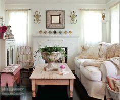 Pink Shabby...distressed & chipped pink coffee table, bench, & mirror...living room.