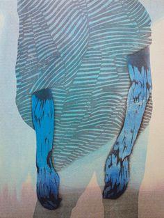 """Ari Pelkonen / """"Lauma"""" / 2009 / puupiirros ja akryyli / wood cut and acrylics"""