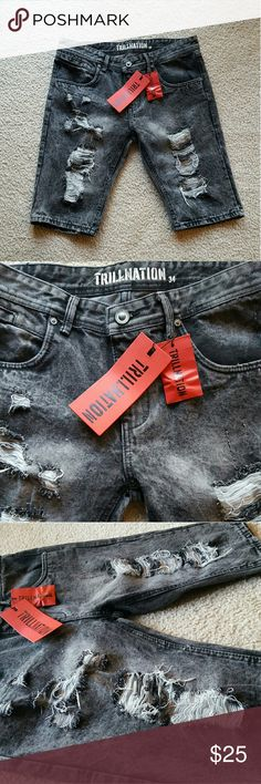 🚫SOLD on M E R C A R I  🚫Trill Nation JeanShorts NWT Men's Trill Nation black distressed shorts. 5 pocket shorts featuring a zipper-fly Trill Nation Shorts Jean Shorts
