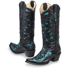 These fanciful boots from Corral Boot CompanyÇ feature softened black leather with a turquoise leather underlay in intricate cut-out designs on the upper toe and up the shaft. Perfect to wear with skirts or tucked into your jeans to show off the hand cut inlay details. Imported. Sizes 6 - 10 1/2.