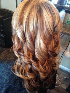 Hair by Carla Carnes owner of Crave Color Salon Blonde With Red Highlights, Hair Color Highlights, Red Hair Color, Scarf Hairstyles, Funky Hairstyles, Blonde Hair Shades, Mid Length Hair, Hair Affair, Fall Hair