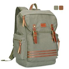 KAKA Vintage Canvas Backpack Men Casual Canvas Leather Travel Backpack Rucksack Bookbag Satchel Hiking Daypacks For OutdoorHikingSchoolArmy Green ** Check out this great product. (Note:Amazon affiliate link)