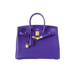Fashion / HERMES BIRKIN 35 IRIS Gold Hardware ❤ liked on Polyvore featuring bags, handbags, hermes, purses, bolsas, hermès, handbags purses, purple handbags, purple purse and purple bags