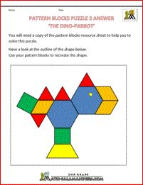 Pattern Blocks Puzzle 3 - The Dino-Parrot 2nd Grade Math Worksheets, Printable Math Worksheets, Math 2, Math Games, Shape Puzzles, Maths Puzzles, Puzzles For Kids, Printable Shapes, Shapes For Kids