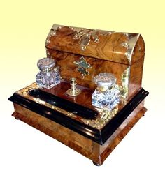 Walnut Antique Writing Box Complete with Inkwells, Seal Candle Stick and Working Key c1890