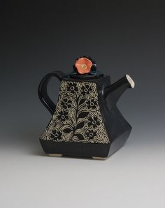 Black and White Teapot with Orange Flower Knob by embroideredstone.