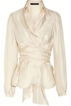 Elegant and Modern Wrap Blouse: The Latest Collection by Etro: Silk wrap blouse by Etro from front detail view