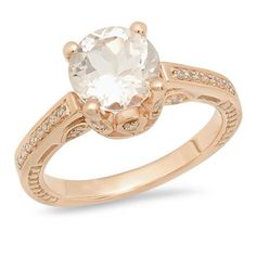 Share for $20 off your purchase of $100 or more! 1.80 Carat (ctw) 10K Rose Gold Round Morganite & White Diamond Ladies Bridal Engagement Ring 1 3/4 CT - Dazzling Rock #https://www.pinterest.com/dazzlingrock/
