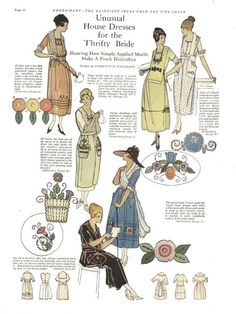 1921 needlework book, Housedresses for a Thrifty Bride. From kittyinva@tumblr.com