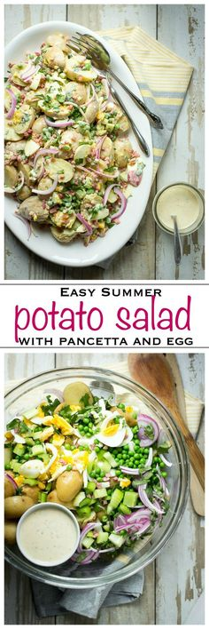 Creamy potato salad with pancetta and egg, dressed in an awesome mayonnaise, Dijon and relish dressing | Foodness Gracious