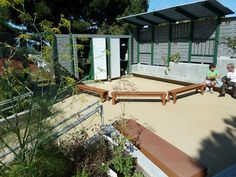 Outdoor Classroom with storage, white boards & seating by School Ground Greening Coalition, via Flickr (Alice Fong Yu ES)
