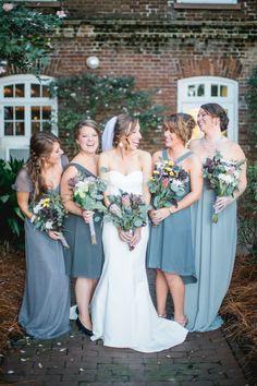 Mismatched Slate Gray Bridesmaid Dresses