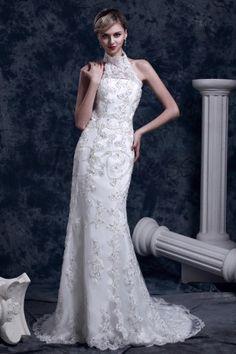 Gorgeous Trumpet/Mermaid High-Neck Chapel Dasha's Lace Wedding Dress