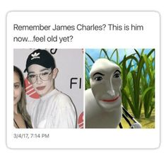 James Charles is one of the biggest beauty gurus and vloggers and his fans know exactly how to make the funniest memes about him. Really Funny Memes, Stupid Funny Memes, Funny Relatable Memes, Funny Tweets, Haha Funny, Funny Posts, Funny Quotes, Hilarious, Funny Fails