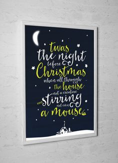 'Twas the night before Christmas' Experimental / typography print