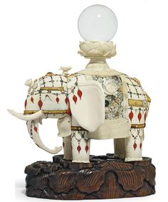 An Impressive Ivory and Shibayama Elephant Signed Masayuki, Meiji Period (late century) Unusual Things, Lovely Things, Small Sculptures, Mixed Metals, Crystal Ball, Tortoise Shell, Lotus Flower, Elephants, Creative Art
