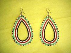 Beautiful Kenyan Maasai Beaded Teardrop Earrings